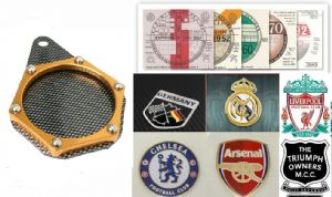 MOTORCYCLE Tax Disc Holder: Coat of Arms, Football Club, Moto Club Badge Holder. [Carbon/Gold]